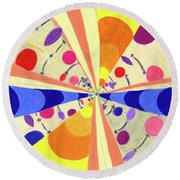 Round Beach Towel featuring the drawing Universals by Kim Sy Ok