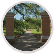 University And Johnston Entrance Round Beach Towel