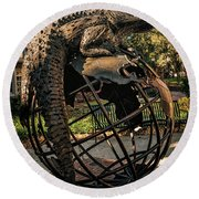 Round Beach Towel featuring the photograph University Of Florida Sculpture by Joan Carroll