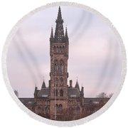 University Of Glasgow At Sunrise Round Beach Towel