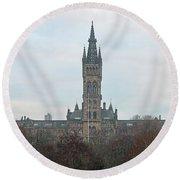 University Of Glasgow At Sunrise - Panorama Round Beach Towel