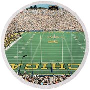 Round Beach Towel featuring the photograph University Of Michigan Stadium, Ann by Panoramic Images