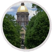 University Of Notre Dame Golden Dome Round Beach Towel