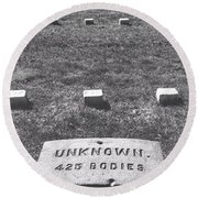 Unknown Bodies Round Beach Towel