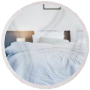 Unmade Bed Round Beach Towel by Atiketta Sangasaeng