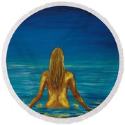 Round Beach Towel featuring the painting Unmasking Series 1 by Leslie Allen