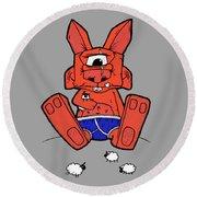 Uno The Cyclops Bunny Round Beach Towel by Bizarre Bunny