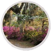 Unpaved Road In Spring Round Beach Towel