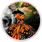 Round Beach Towel featuring the mixed media Unrestricted by Marvin Blaine