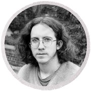 Unshaven Photographer, 1972 Round Beach Towel