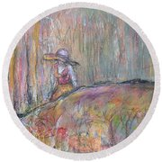 Unspoken Round Beach Towel by Gail Butters Cohen
