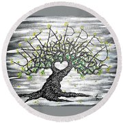 Round Beach Towel featuring the drawing Untapped Love Tree by Aaron Bombalicki