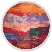 untitled 109 Original Painting Round Beach Towel