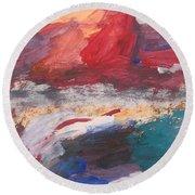 Untitled 98 Original Painting Round Beach Towel