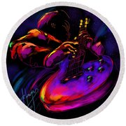 Untitled Guitar Art Round Beach Towel by DC Langer