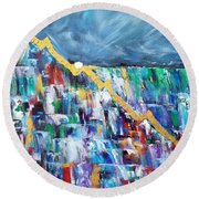 Round Beach Towel featuring the painting Untitled by Judith Rhue