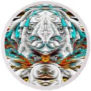 Round Beach Towel featuring the digital art 992.042212mirrorornategoldvert-2-c by Kris Haas