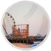 Funtown And Casino Amusement Pier In Seaside Park And Seaside Heights Nj Round Beach Towel