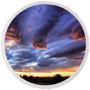 Alien Cloud Formations Round Beach Towel