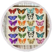 Unusual Colourful Butterfly Collage Round Beach Towel