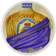 Round Beach Towel featuring the painting Unveil The Crown .... Whisky by Kelly Mills