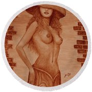 Round Beach Towel featuring the painting Unveiled Topless Original Coffee Painting by Georgeta Blanaru