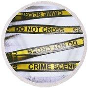 Unwrapping A Murder Investigation Round Beach Towel