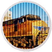 Round Beach Towel featuring the photograph Up 5915 At Track Speed by Bill Kesler