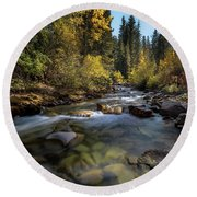 Up A Colorado Creek Round Beach Towel