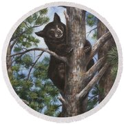 Round Beach Towel featuring the painting Up A Tree by Kim Lockman