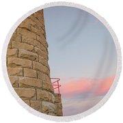 Close-up Detail Of The Cape Moreton Lighthouse Round Beach Towel