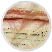 Up Close Painted Hills Round Beach Towel by Greg Nyquist