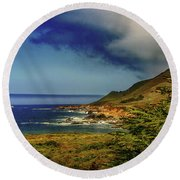 Up Coast Round Beach Towel by Joseph Hollingsworth