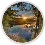 Up Early For The Start Of Fall Color... Round Beach Towel