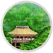 Round Beach Towel featuring the painting Up High Temple by Yoshiko Mishina