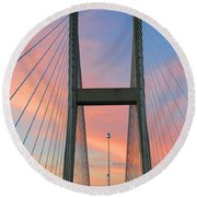 Up On The Bridge Round Beach Towel