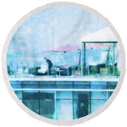 Round Beach Towel featuring the digital art Up On The Roof - II by Mary Machare