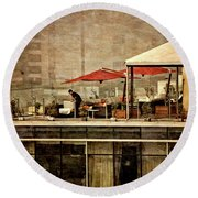 Round Beach Towel featuring the photograph Up On The Roof - Miraflores Peru by Mary Machare