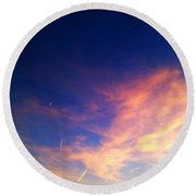 Up-side Of A Sunset I Round Beach Towel