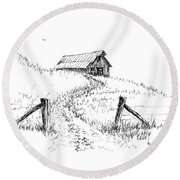 Up The Hill To The Old Barn Round Beach Towel