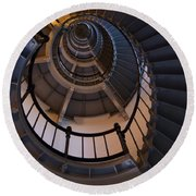 Up The Lighthouse Stairs  Round Beach Towel