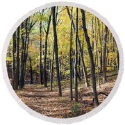 Up The Woodland Trail Round Beach Towel