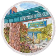 Sedona Up Town Mall In Sedona, California Round Beach Towel