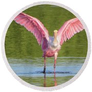 Up, Up And Away Sanibel Spoonbill Round Beach Towel