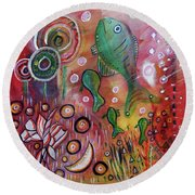 Round Beach Towel featuring the mixed media Up We Go  by Mimulux patricia no No