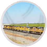 Round Beach Towel featuring the photograph Up4912 by Jim Thompson