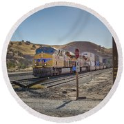 Round Beach Towel featuring the photograph Up7472 by Jim Thompson