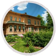 Round Beach Towel featuring the photograph Upham Mansion by Trey Foerster