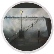 Round Beach Towel featuring the painting Upon The Boardwalk by Raymond Doward