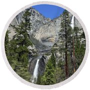 Upper And Lower Yosemite Falls Round Beach Towel